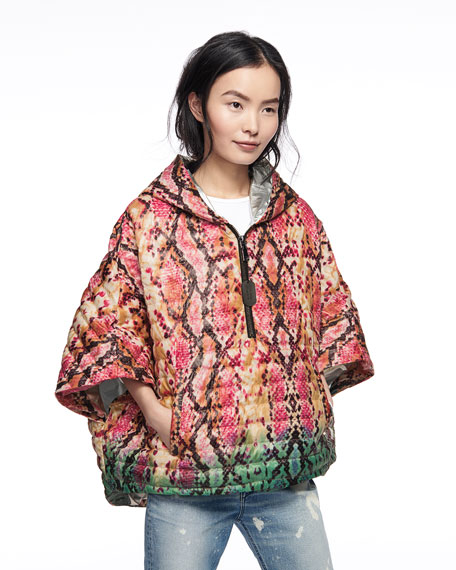 Think Royln The Heroine Quilted Python-Print Poncho