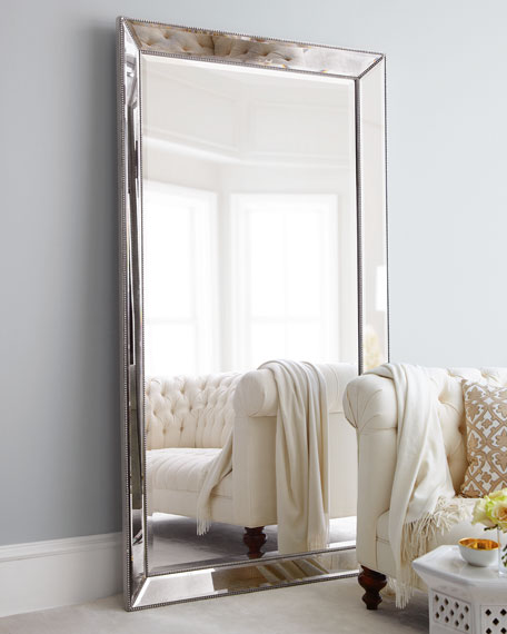 Antiqued-Silver Beaded Floor Mirror