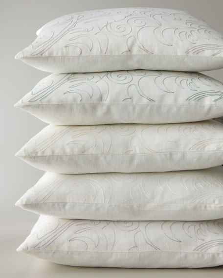 """Megan Pillow with Single-Color Embroidery, 20""""Sq."""