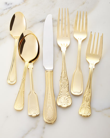 90-Piece Gold-Plated Hotel Flatware Service