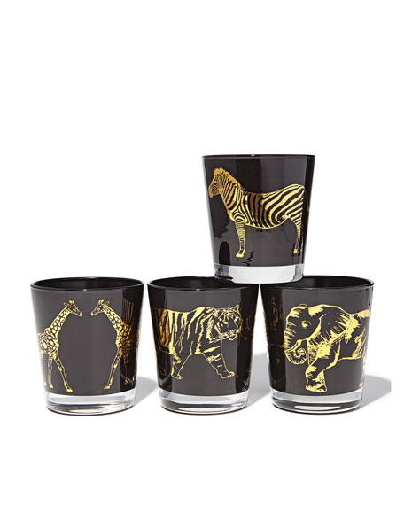 Animalia Bar Glasses, 4-Piece Set
