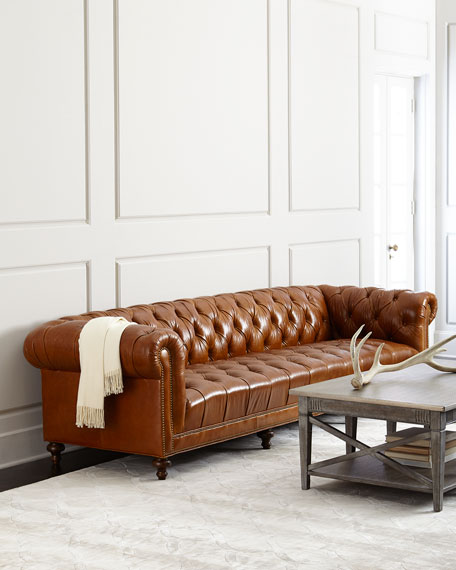 "Massoud Davidson 94"" Tufted Seat Chesterfield Sofa"