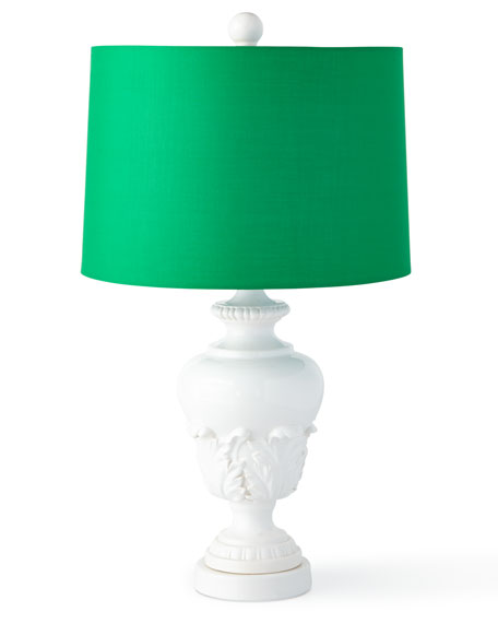 Acanthus Urn Lamp with Green Shade