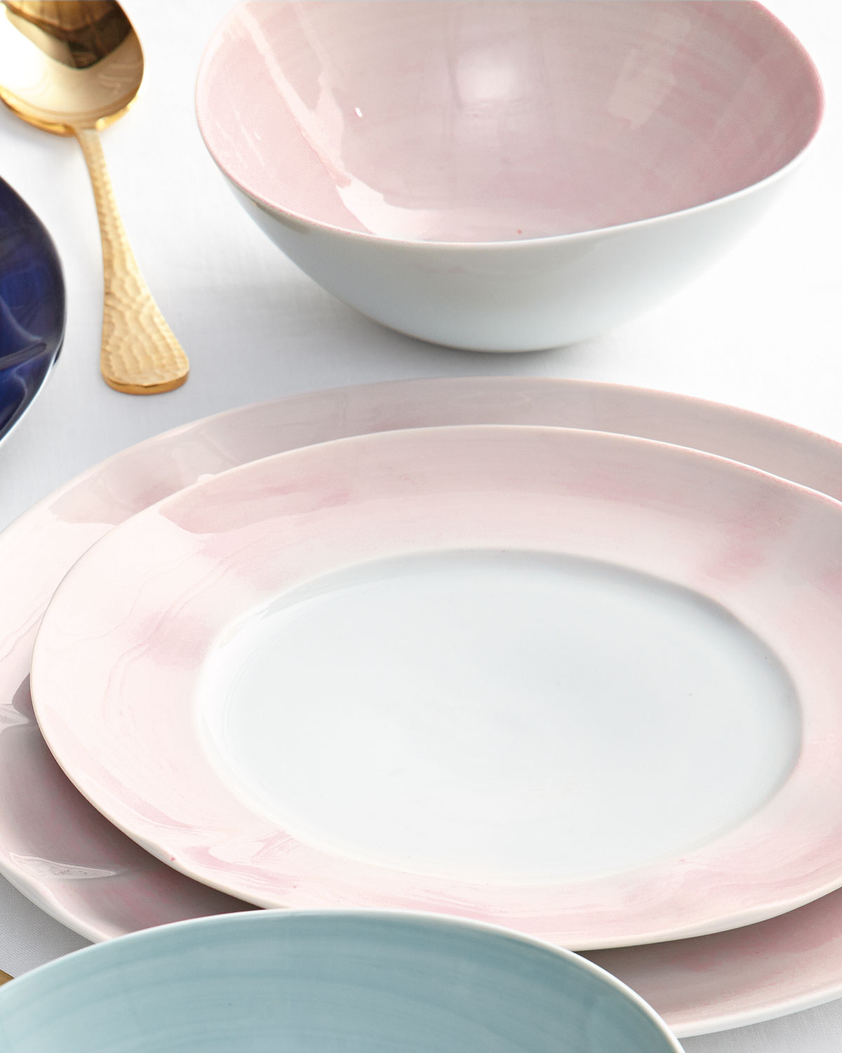 12-Piece Pink Brushstroke Dinnerware Service : dinnerware from portugal - pezcame.com