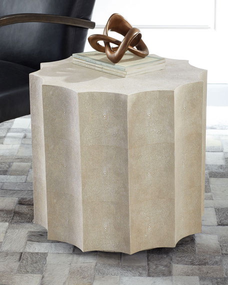 Image 1 of 3: Regina Andrew Marilyn Faux Shagreen Scalloped Side Table