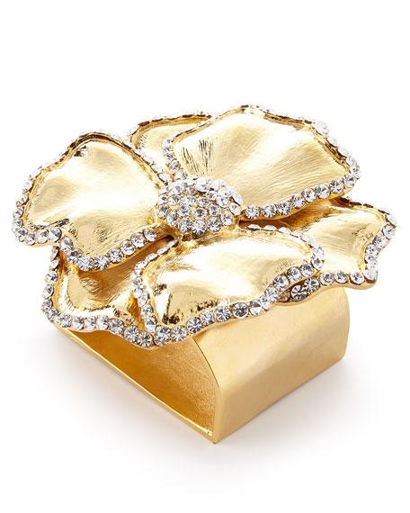 Nomi K Swarovski® Crystal Flower Napkin Ring, Set of Four, Golden