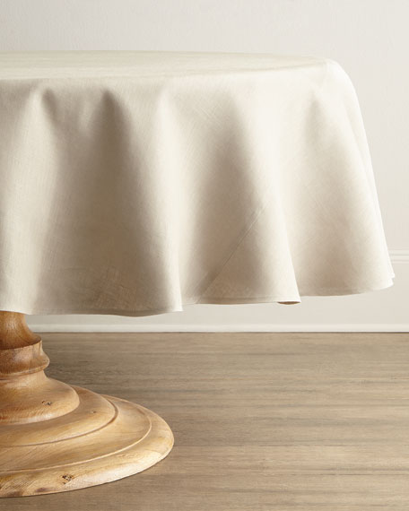 "SFERRA Hemstitch Round Tablecloth, 90""Dia."