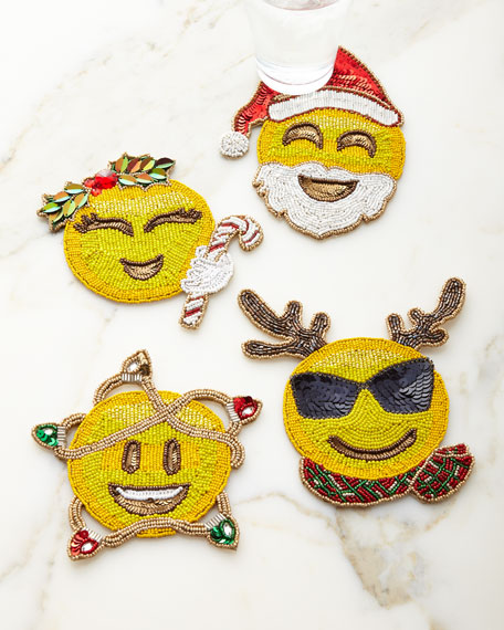 Kim Seybert Merry Emojis Coasters, Set of 4