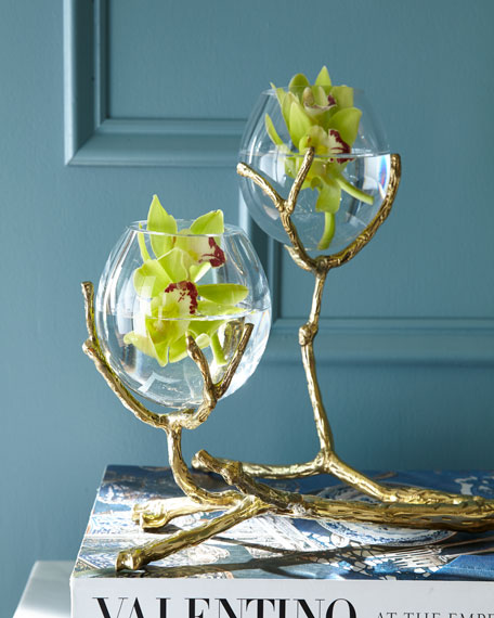 Image 2 of 3: Global Views Twig Brass Two-Vase Holder