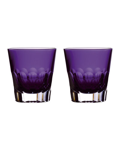 Jeff Leatham Icon Double Old-Fashioned Glasses  Set of 2 - Amethyst