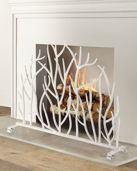 Image 1 of 2: White Twig Branch Fireplace Screen