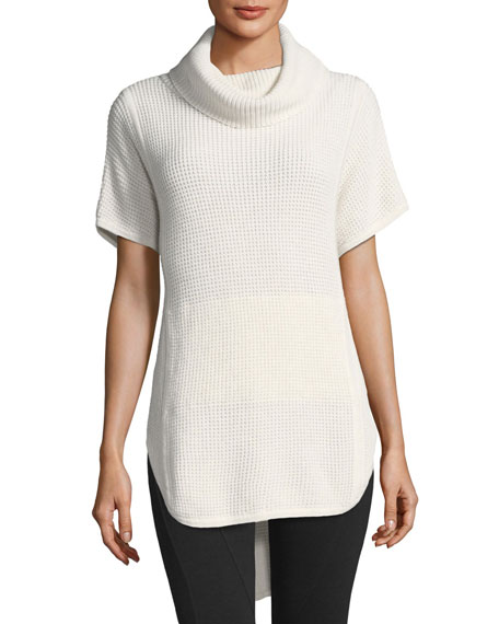 Selby Short-Sleeve Cowl-Neck Sweater
