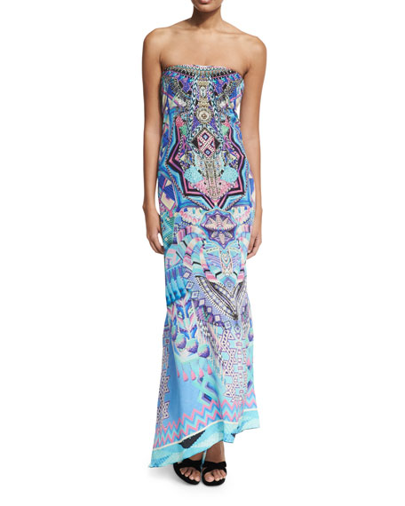 Round-Neck Embellished Printed Silk Kaftan Coverup, One Size
