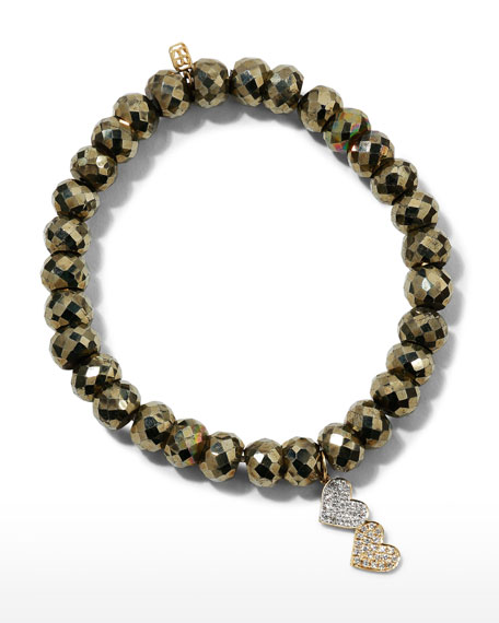 Image 1 of 4: Sydney Evan 8mm Champagne Pyrite Beaded Bracelet with Diamond Double Heart Charm