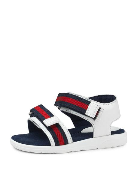 Gucci Leather Grip-Strap Sandal w/ Web Trim, Toddler