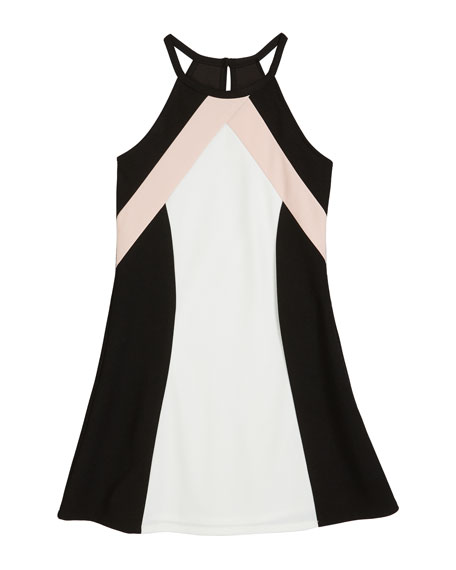 Sally Miller The Hope Colorblock Techno Crepe Halter Dress, Size S-XL