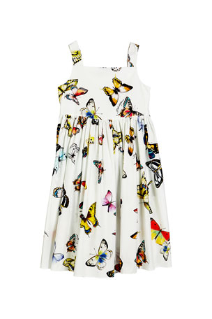 Dolce & Gabbana Butterfly-Print Poplin Sleeveless Dress, Size 8-12