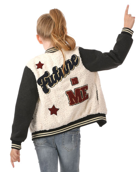 Hannah Banana Girl's I Am The Future Varsity Bomber Jacket, Size 2-6
