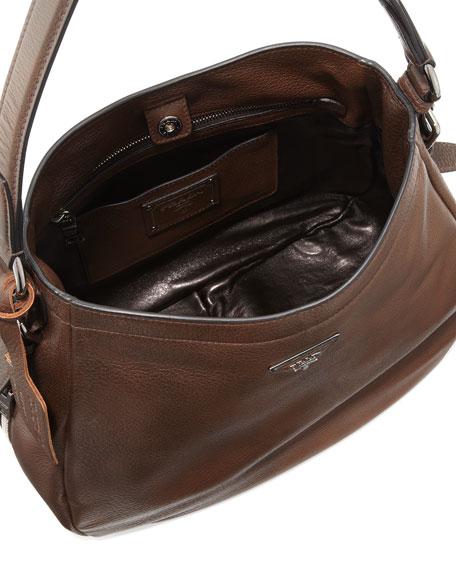 Xl North South Leather Hobo Bag Dark Brown Mogano