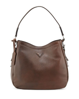 Prada XL North-South Leather Hobo Bag, Dark Brown (Mogano)