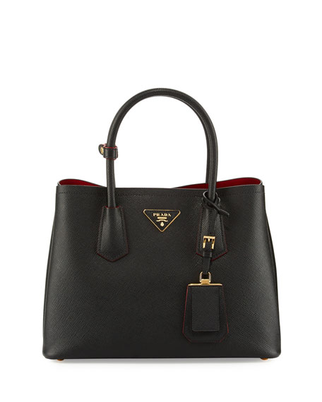 Image 1 of 5: Saffiano Cuir Double Small Tote Bag