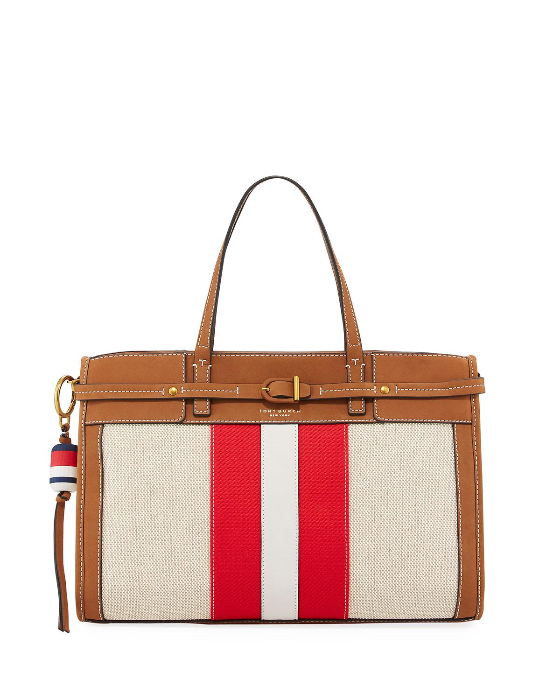 b14ae312a165 Tory Burch Striped Canvas   Suede Satchel Bag