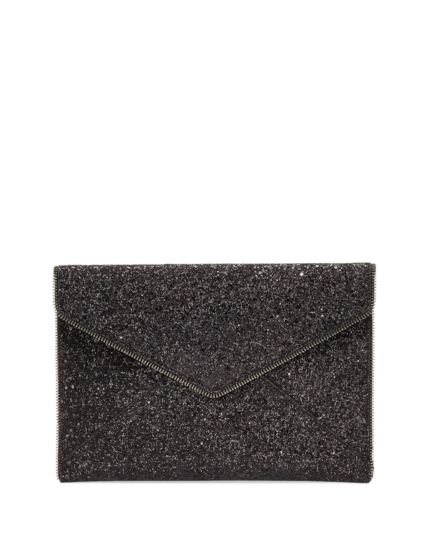 e352329b8 Rebecca Minkoff Leo Glitter Clutch Bag, Black | Neiman Marcus