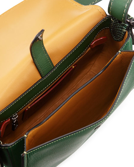 23 Python-Strap Saddle Bag, Green