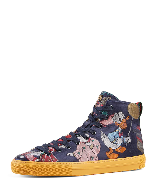 2fa664381b29 Gucci Donald Duck Men's Jacquard High-Top Sneaker, Multicolor ...