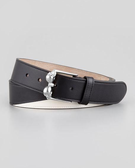 Alexander McQueen Men's Double-Skull-Buckle Belt, Black/Silvertone