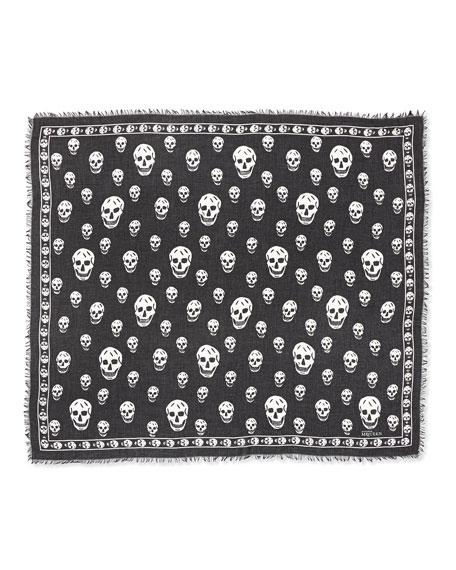 Alexander McQueen Men's Skull-Print Modal/Silk Scarf, Black/White