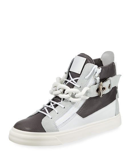 Giuseppe Zanotti Colorblock Leather Chain High-Top Sneaker