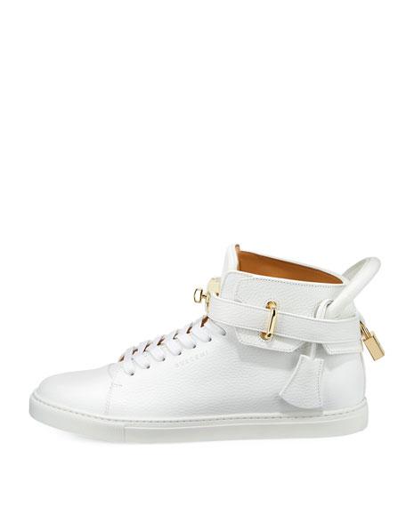 100mm Golden-Padlock Sneakers, White