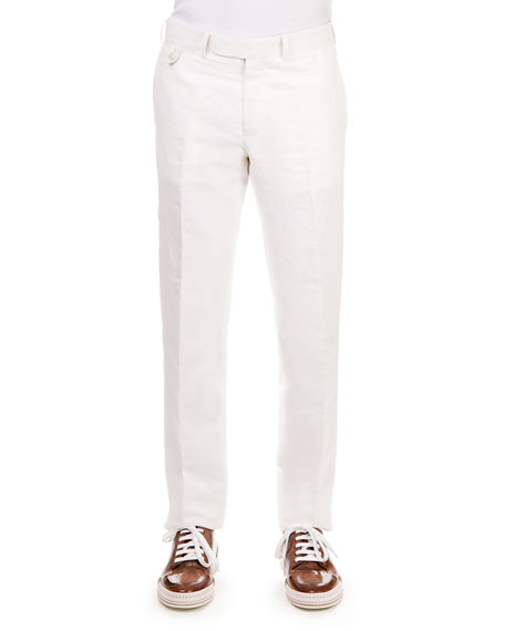 Berluti Linen-Cotton Blend Flat-Front Trousers, White