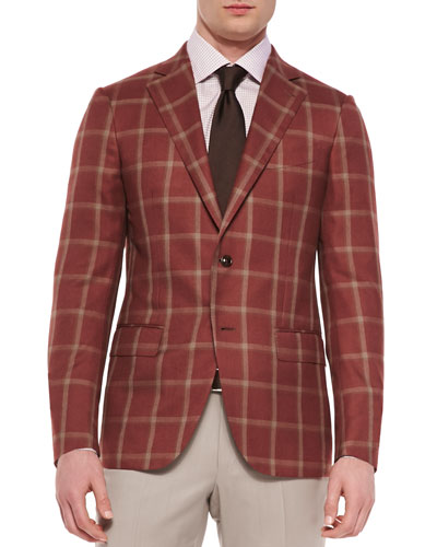 Cashmere-Silk Windowpane Jacket, Rust/Tan