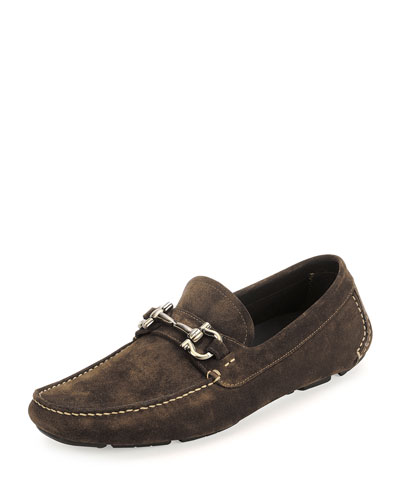 Parigi Suede Gancini Driver, Dark Brown