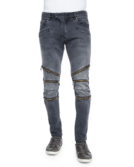 Pierre Balmain Washed Moto Jeans with Zipper-Detail, Black