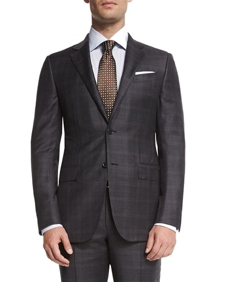 Ermenegildo Zegna Trofeo Plaid Two-Piece Suit, Gray
