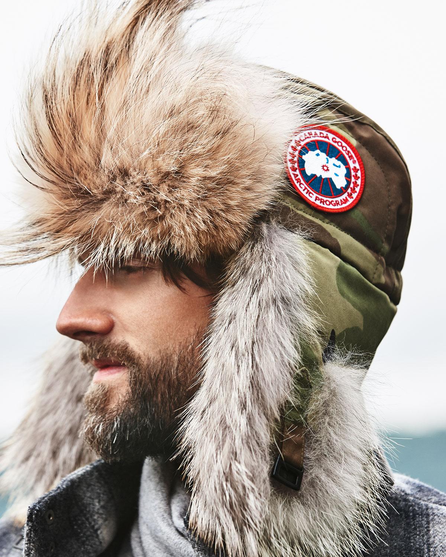 canada goose coyote fur bomber hat