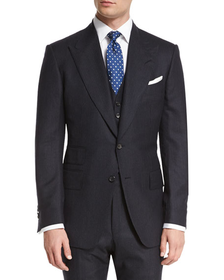 TOM FORD Windsor Base Extra-Light Flannel Pinstripe Three-Piece