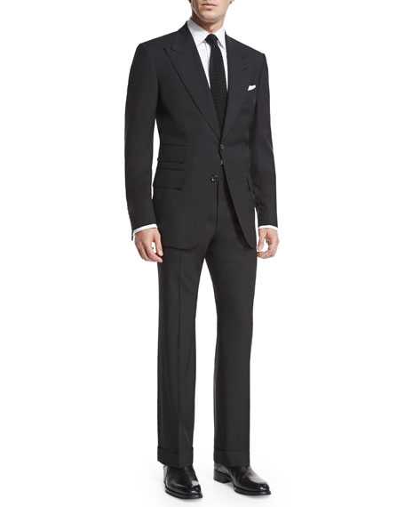 Image 3 of 4: TOM FORD Windsor Base Peak-Lapel Two-Piece Suit, Black