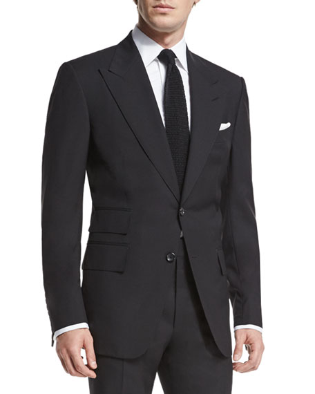 Image 1 of 4: TOM FORD Windsor Base Peak-Lapel Two-Piece Suit, Black