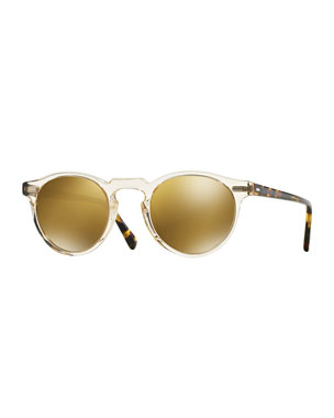d1453fbdc2 Oliver Peoples Gregory Peck 47 Round Sunglasses