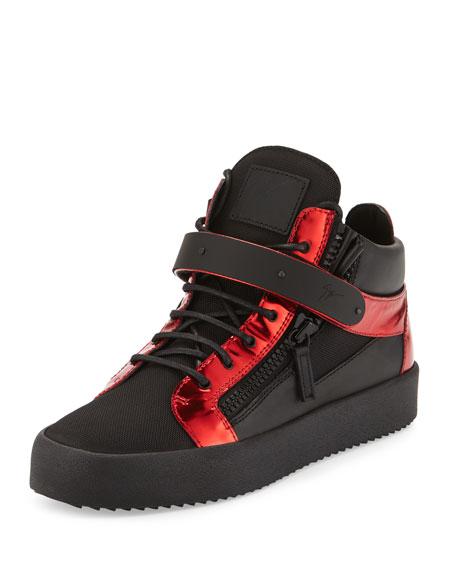 Giuseppe ZanottiMen's Metallic Mid-Top Leather Sneaker, Black