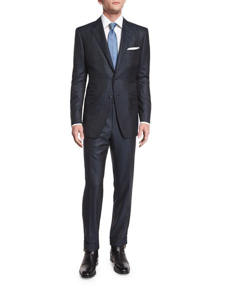 O'Connor Base Birdseye Pinstripe Wool Suit, Navy