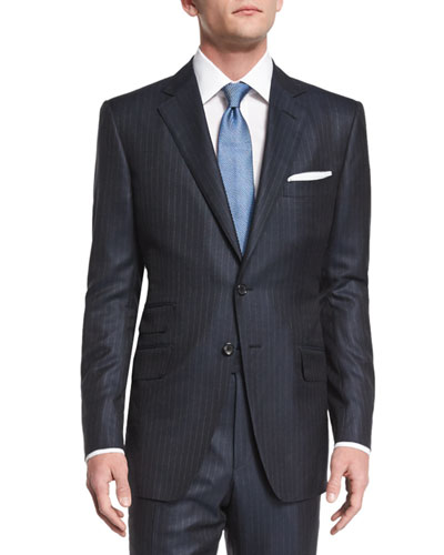 O'Connor Base Birdseye Pinstripe Wool Suit, Navy