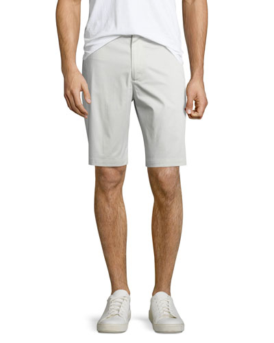 Flat-Front Sateen Shorts, Stone