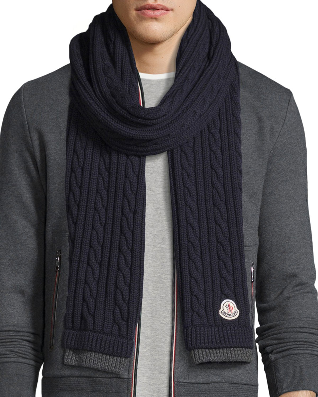 577d801a71d Moncler Men s Bicolor Wool Cable-Knit Scarf
