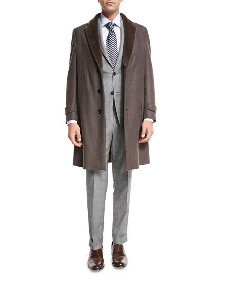 Topcoat w/Mink Fur Collar, Light Brown