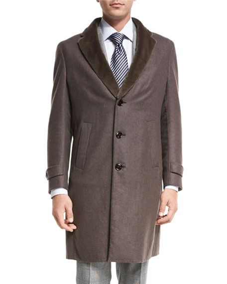 Ermenegildo Zegna Topcoat w/Mink Fur Collar, Light Brown